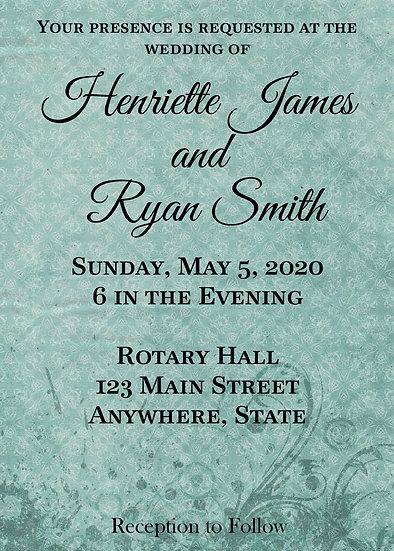 Teal with Flourish Wedding Invitation