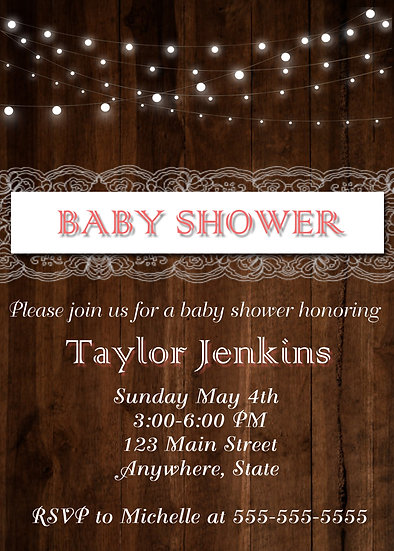 Wood and Lace Baby Shower Invitation
