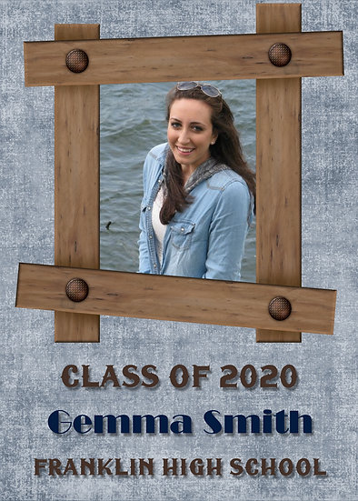 Denim and Wood Graduation Announcement