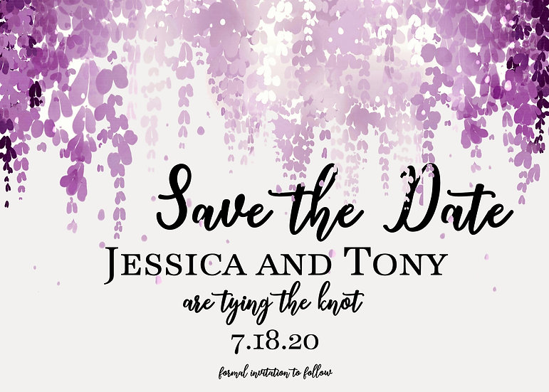 Purple Falling Leaves Save the Date