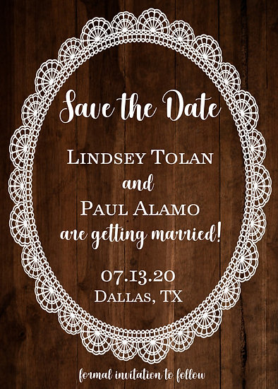 Wood Background and Round Lace Save the Date