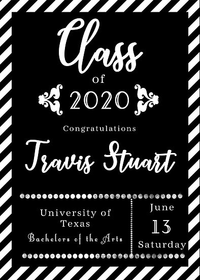 Black and White Stripe Graduation Announcement