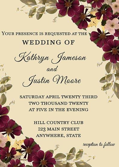 Maroon Flower Wedding Invitation