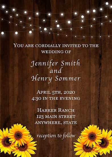 Lights and Daisies Wedding Invitation