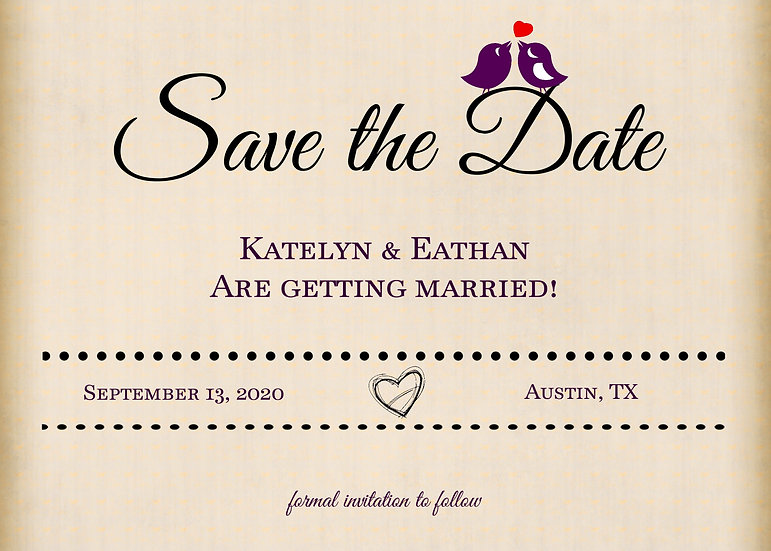 Kissing Bird Save the Date