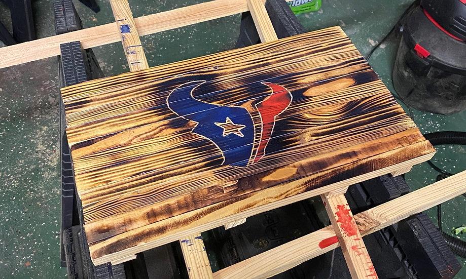 Texas Logo Rustic Wood Wall Hang