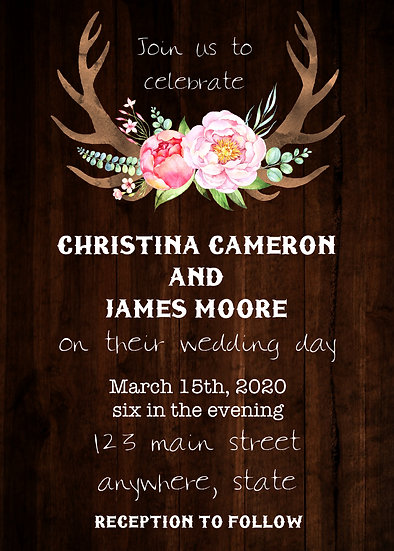 Wood and Antler Wedding Invitation Package