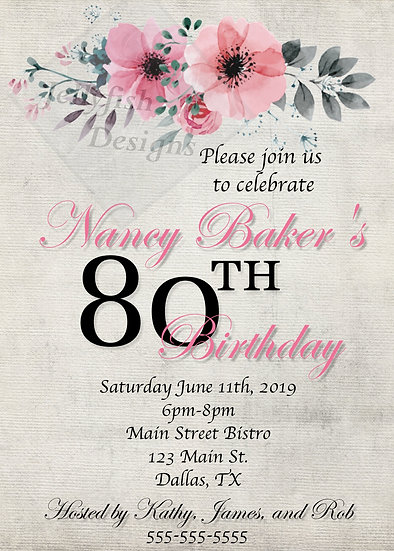 Flower Birthday Invitation (can be any age)