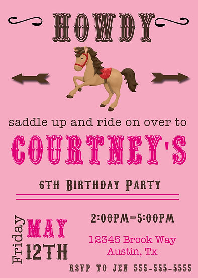 Pink Horse Birthday Invitation (can be any age)