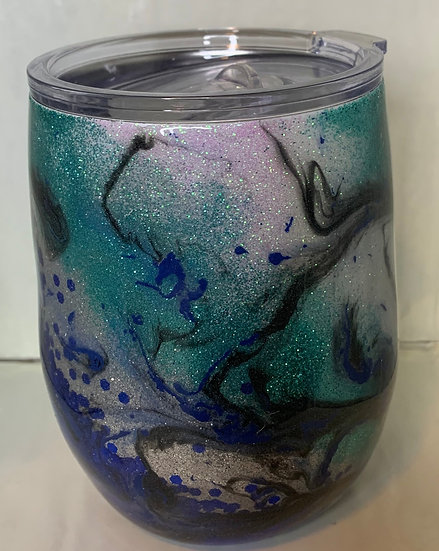 Blue and Teal Wine Tumbler