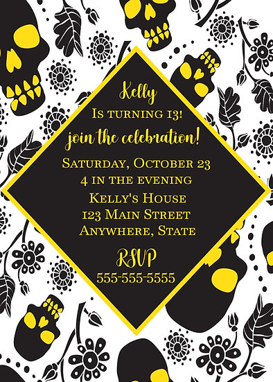 Black and Yellow Skull Birthday Invitation