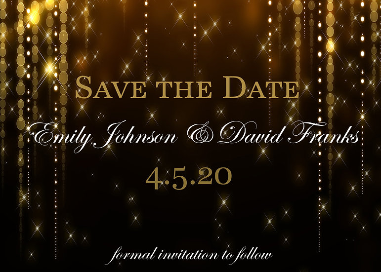 Gold Sparkle Save the Date