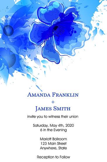 Blue Flower Corner Wedding Invitation