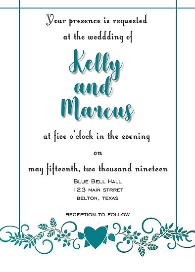 Teal Flourish Wedding Invitation