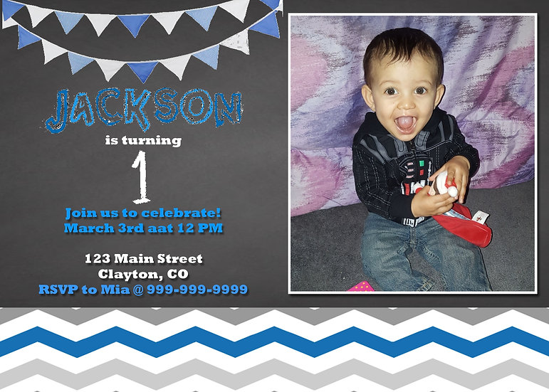 First Birthday Invitation with Picture