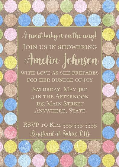 Polka Dot Baby Shower Invitation