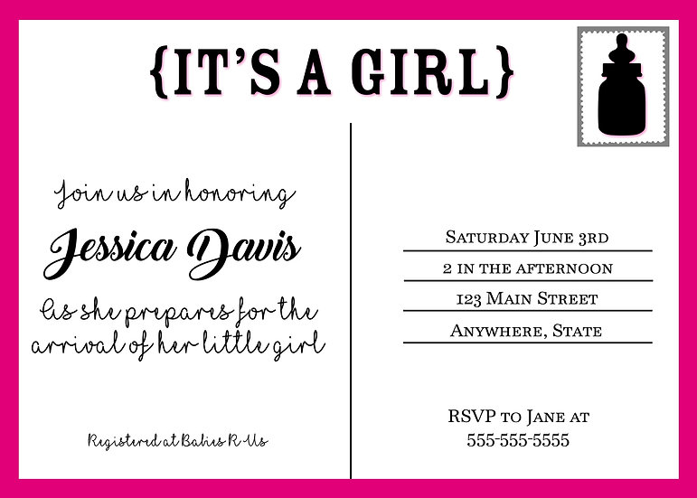 Postcard Style Baby Shower Invitation