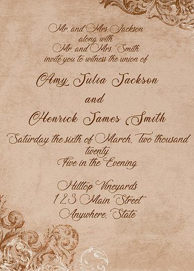 Brown Flourish Wedding Invitation Package