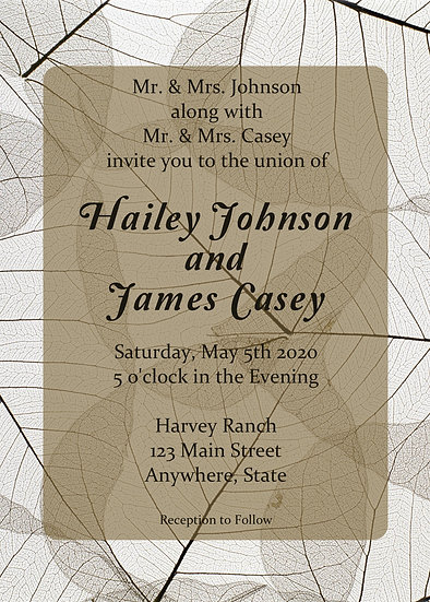 Brown Leaf Wedding Invitation