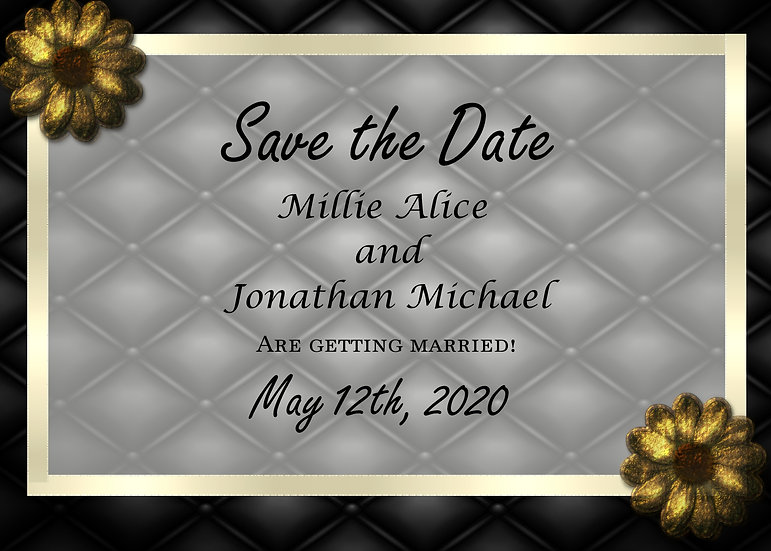 Black and Gold Flower Save the Date