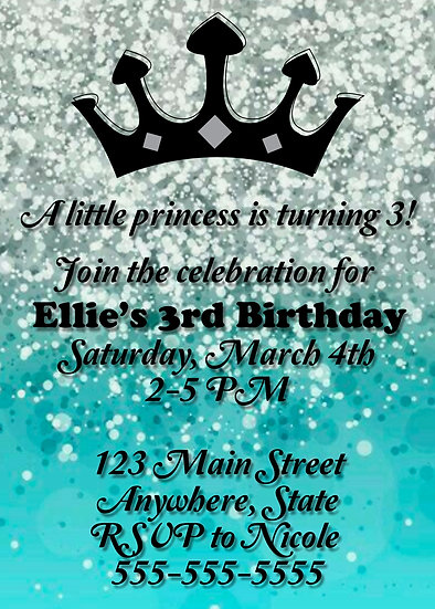 Teal Sparkle Crown Birthday Invitation