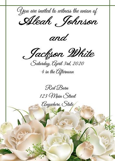 White Rose with Border Wedding Invitation