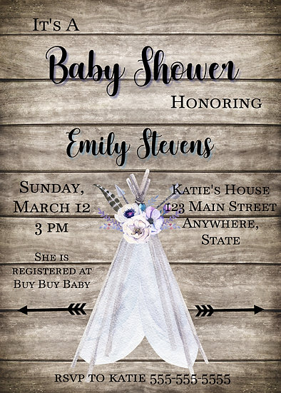 Wood and Teepee Baby Shower Invitation