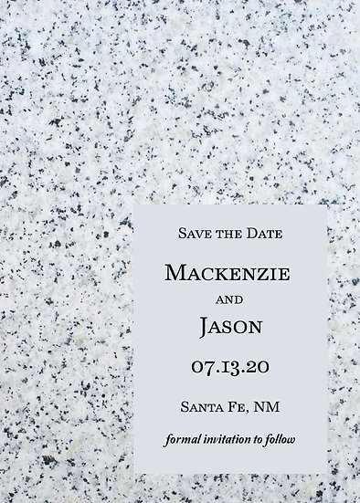 Blue Grey Marble Save the Date
