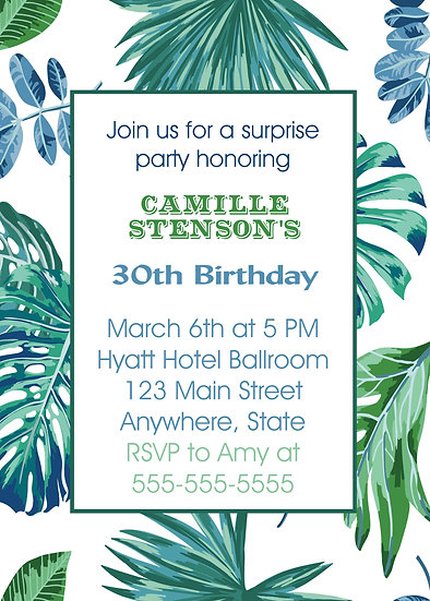 Tropical Leaf Birthday Invitation