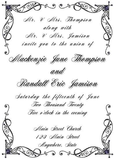 Elegant Corners Wedding Invitation