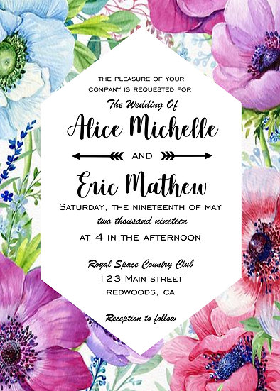 Flower Border Wedding Invitation Package