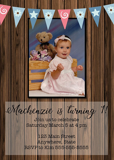 Wood with Flag Banner Birthday Invitation