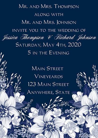 Navy and White Flower Wedding Package