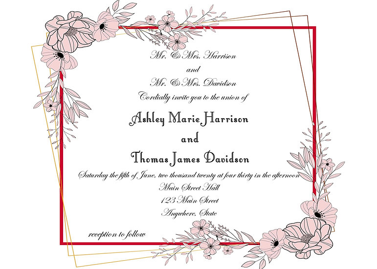 Pink Floral Border Wedding Invitation