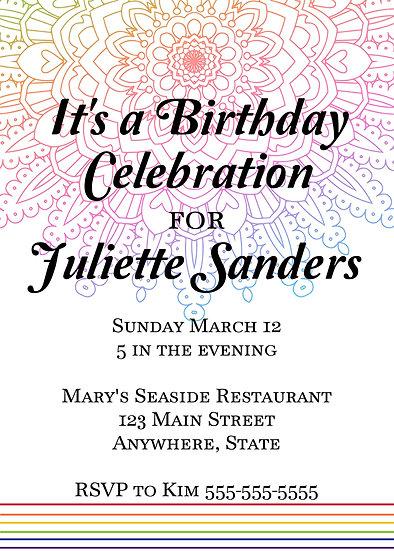 Rainbow Design Birthday Invitation