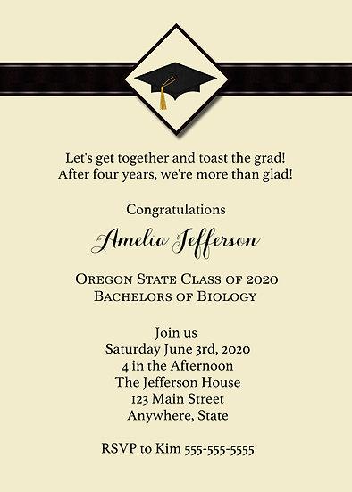 Tan and Black Graduation Announcement