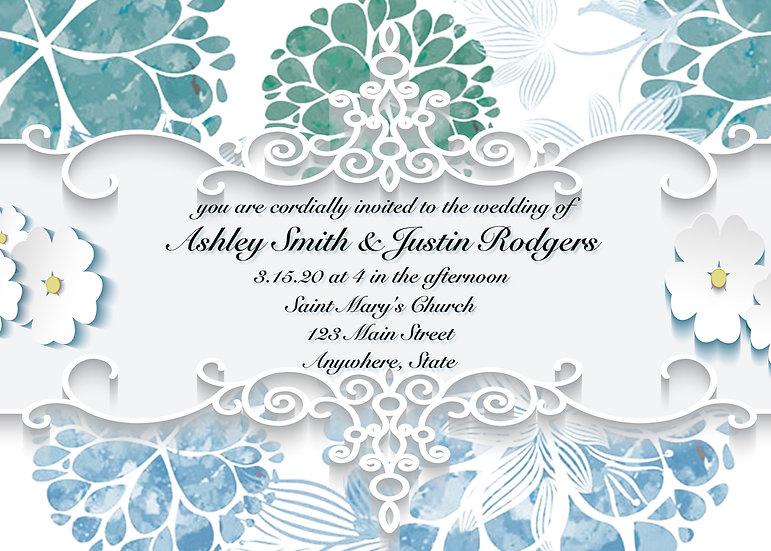 Blue and Teal Flourish Wedding Invitation