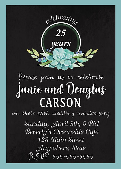 Teal Flower Chalk Anniversary Invitation