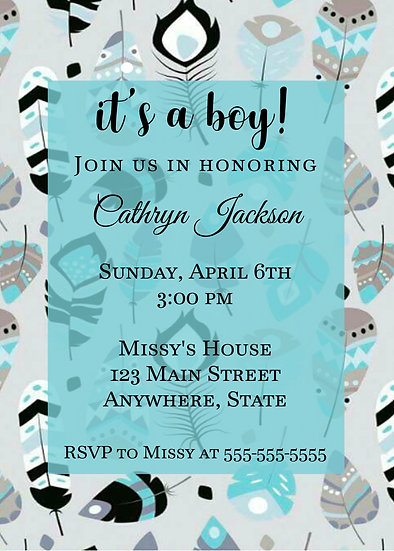 Feather Baby Shower Invitation