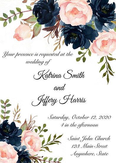 Pink and Blue Flower Corner Wedding Invitation