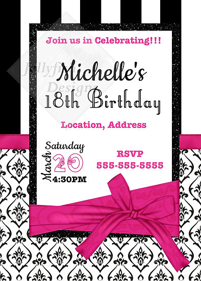 Black, White, and Pink Birthday Invitation (can be any age)