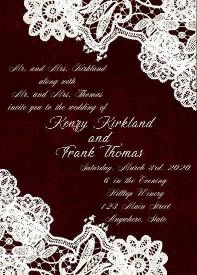 Dark Red and Lace Wedding Invitation