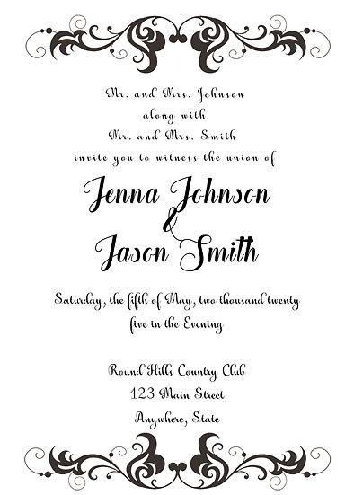 Border Flourish Metallic Name Wedding Invitation