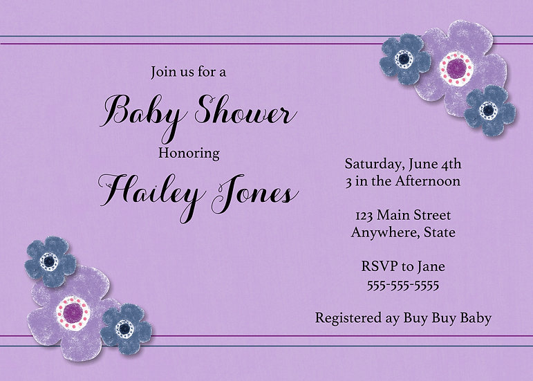 Purple and Blue Flower Baby Shower Invitation