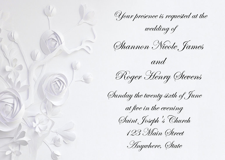 White Flower Wedding Invitation