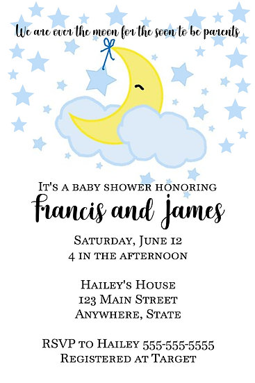 Over the Moon Baby Shower Invite