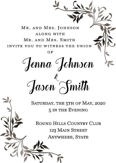 Metallic Name Flourish Wedding Invitation