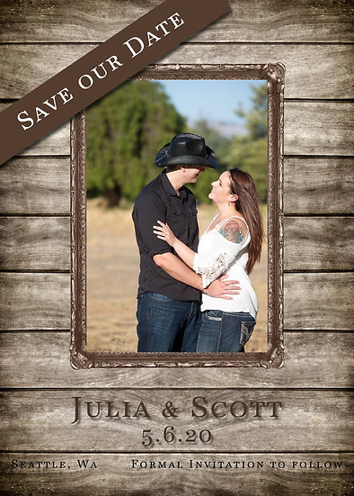 Wood Frame Save the Date