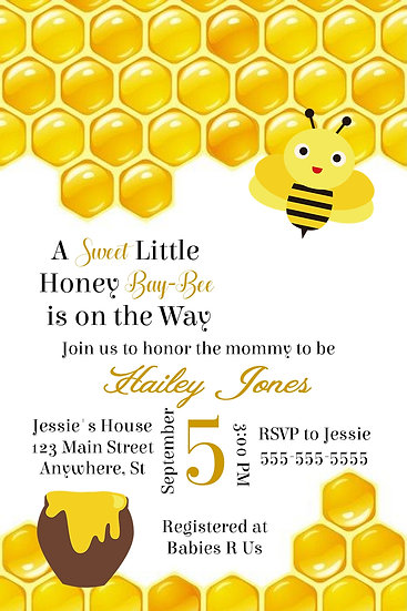 Bee Baby Shower Invite
