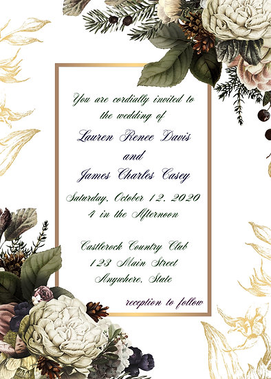 Dark Flower Wedding Invitation